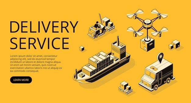 Illustrazione di trasporto di servizio di consegna di trasporto aereo, nave cargo o drone e camion