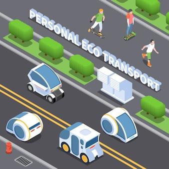 Illustrazione di trasporto personale eco con simboli di auto elettriche isometrica