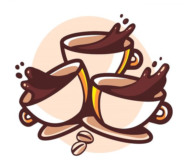 Illustrazione di tre tazze di caffè con spruzzi su sfondo bianco.