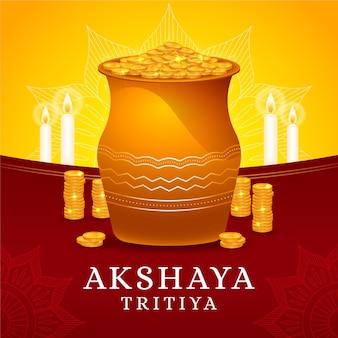 Illustrazione di tritiya di akshaya con monete d'oro