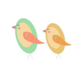 Illustrazione di uccelli carino verde e giallo isolato su bianco.