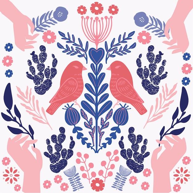 Illustrazione di uccelli e mani