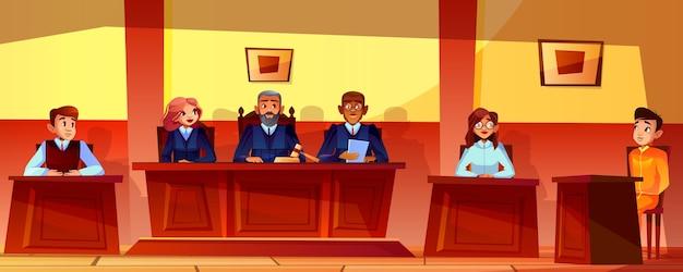 Illustrazione di udienza della corte del fondo dell'interno dell'aula di tribunale. giudici, pubblico ministero o avvocato