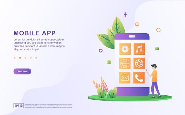 Illustrazione di un'app mobile con un'applicazione mobile predefinita completa.