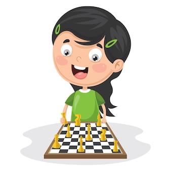 Illustrazione di un bambino che gioca scacchi