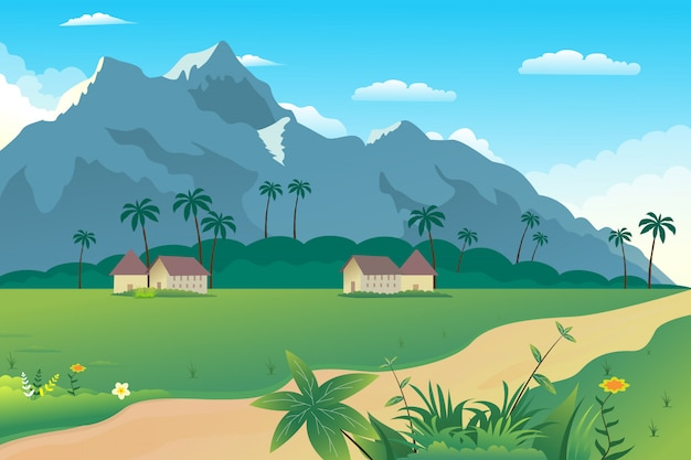 Illustrazione di un bellissimo villaggio estivo sulle colline
