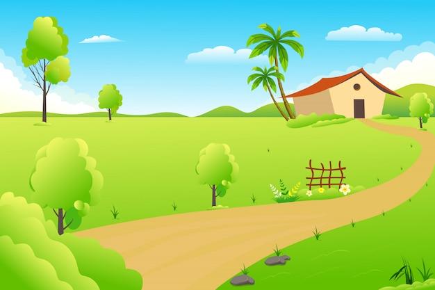 Illustrazione di un bellissimo villaggio estivo