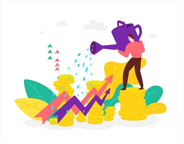 Illustrazione di un broker di un finanziere con un annaffiatoio che osserva la crescita di scorte e benefici.
