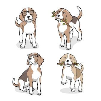 Illustrazione di un cane beagle con gli occhiali e morde un ramo di un albero