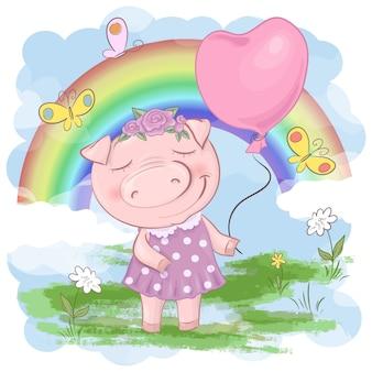 Illustrazione di un cartone animato carino maiale con arcobaleno