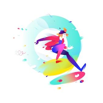 Illustrazione di un cartone animato skateboarder.