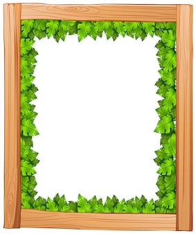 Illustrazione di un disegno di bordo fatto di legno e foglie verdi su una priorità bassa bianca