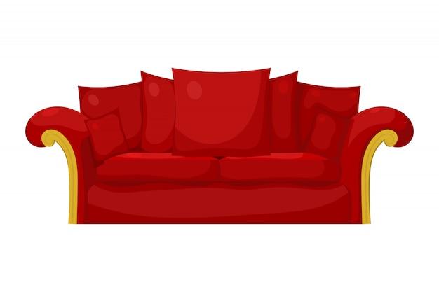 Illustrazione di un divano rosso con cuscini su uno sfondo bianco