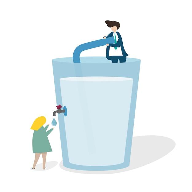 Illustrazione di un enorme bicchiere d'acqua
