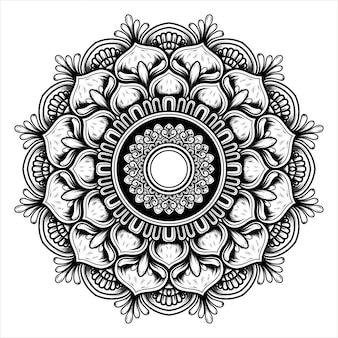 Illustrazione di un fiore che sboccia con un modello di mandala