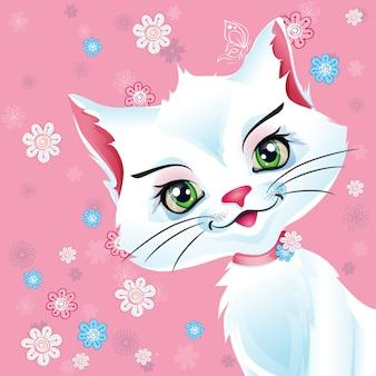 Illustrazione di un gatto bianco su sfondo rosa.