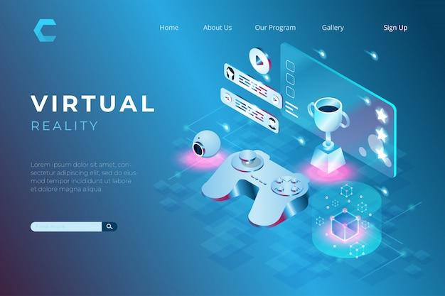 Illustrazione di un gioco con tecnologia di realtà virtuale in stile isometrico