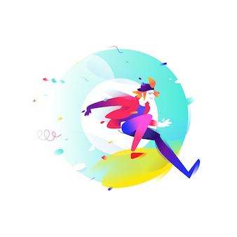 Illustrazione di un giovane cartone animato