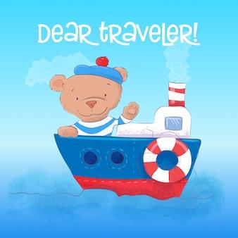Illustrazione di un giovane marinaio dell'orso sveglio su una nave a vapore.