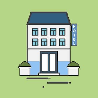 Illustrazione di un grande albergo