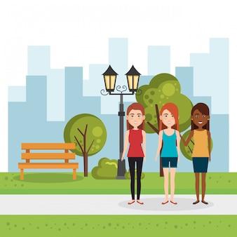 Illustrazione di un gruppo di persone nel parco