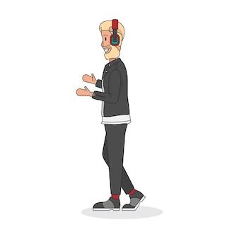 Illustrazione di un ingegnere audio o di un produttore musicale