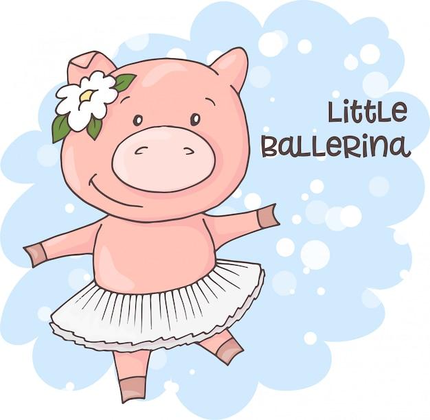 Illustrazione di un maiale simpatico cartone animato