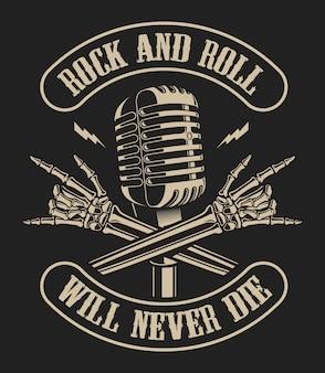 Illustrazione di un microfono con le braccia scheletriche incrociate in stile vintage su uno sfondo scuro. ideale per magliette e molti altri