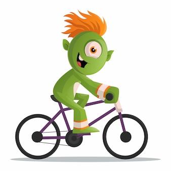 Illustrazione di un mostro verde carino in sella a un ciclo