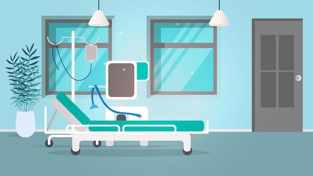 Illustrazione di un ospedale. letto d'ospedale, contagocce, ventilatore ad alta efficienza.