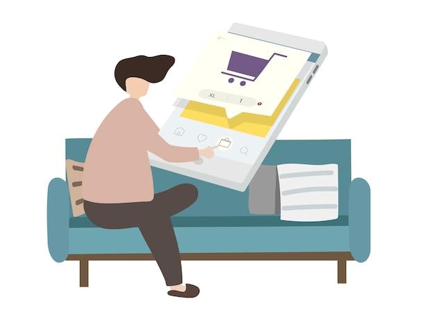 Illustrazione di un personaggio di shopping online