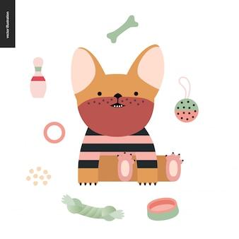 Illustrazione di un piccolo cucciolo di bulldog francese che indossa una maglietta a righe seduta circondata dai suoi giocattoli