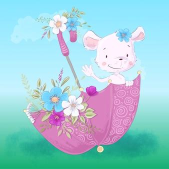 Illustrazione di un piccolo topo sveglio in un ombrello con i fiori.