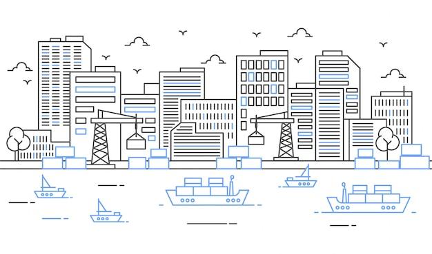 Illustrazione di un porto con grandi navi e merci in stile linea sottile