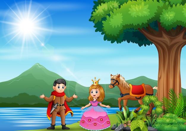 Illustrazione di un principe e una principessa in riva al fiume