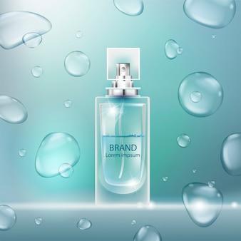 Illustrazione di un profumo di stile realistico in una bottiglia di vetro con bolle.
