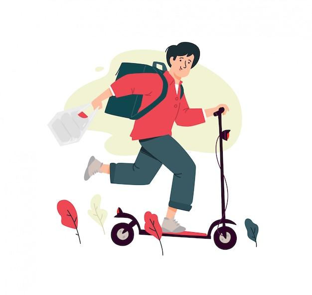 Illustrazione di un ragazzo di corriere su uno scooter elettrico. ordine online, consegna veloce.