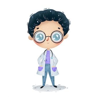 Illustrazione di un ragazzo simpatico cartone animato medico in camice bianco, occhiali e con uno stetoscopio isolato