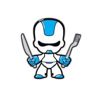 Illustrazione di un robot. robot personaggio del futuro con un coltello e una forchetta.