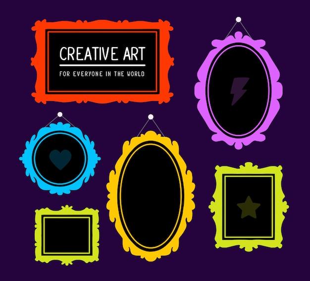 Illustrazione di un set colorato di cornici rettangolari e ovali su sfondo viola.
