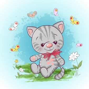 Illustrazione di un simpatico gattino con fiori e farfalle. stampa per vestiti o camera dei bambini