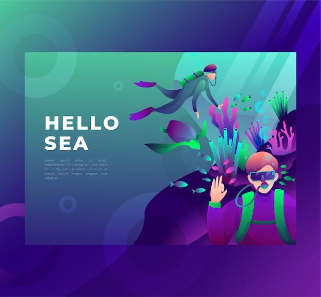 Illustrazione di un subacqueo sott'acqua, saluta, pagina di destinazione.
