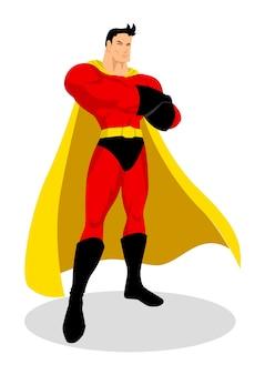 Illustrazione di un supereroe in posa galante