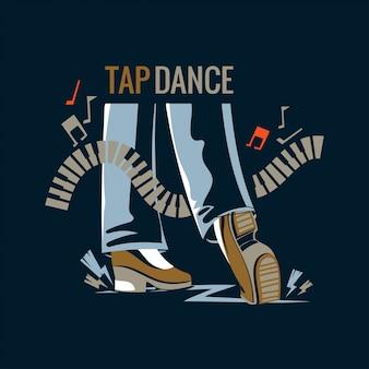 Illustrazione di un tap dancer o step-dancing in piedi in punta di piedi