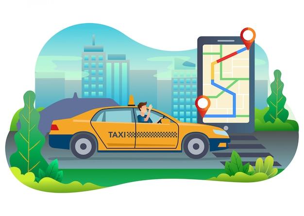 Illustrazione di un tassista che cerca una posizione del suo cliente