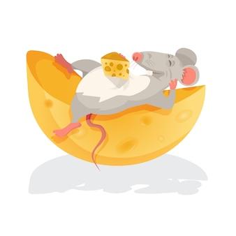 Illustrazione di un topo che si siede sopra un formaggio
