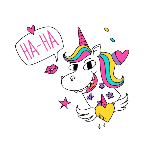Illustrazione di un unicorno magico con criniera colorata.