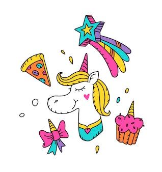 Illustrazione di un unicorno magico con una criniera gialla.