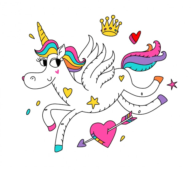 Illustrazione di un unicorno magico corrente con le ali.