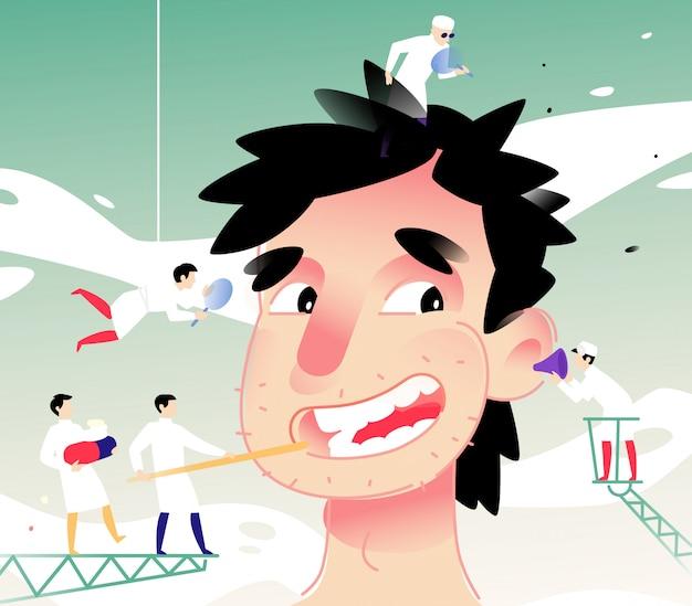 Illustrazione di un uomo allegro alla ricezione di un medico
